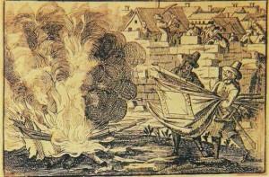 Crema d'estendards el 1714, després del setge de Barcelona.
